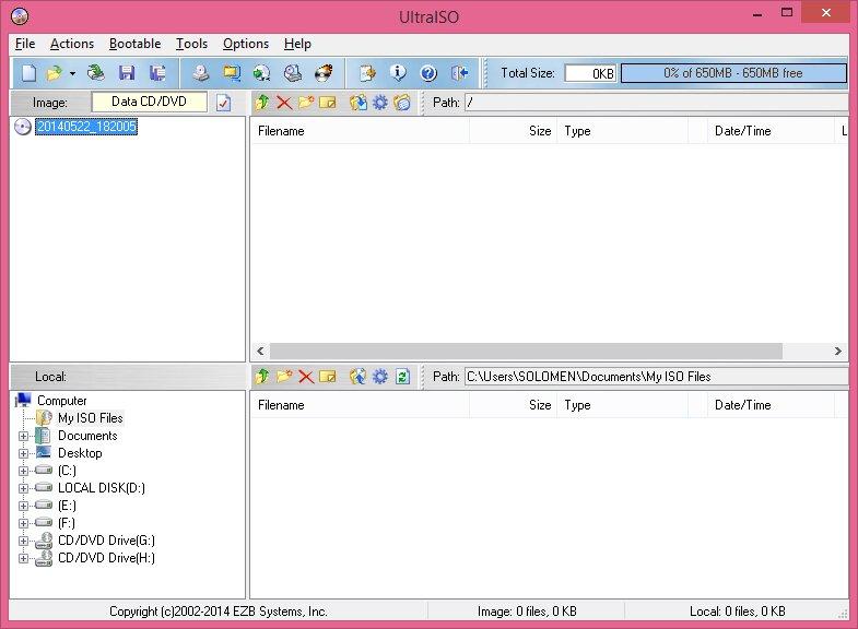 Giao diện tạo file ISO bằng phần mềm UltraISO