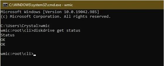 Kết quả kiểm tra bằng công cụ WMIC