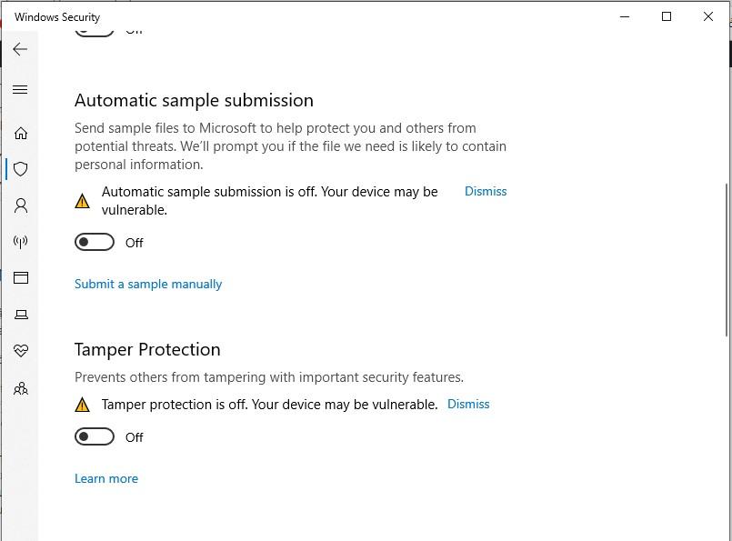 Chương trình chống vi-rút (nếu bạn đã cài đặt bất kỳ chương trình nào) hoặc Bộ bảo vệ Windows (Windows Defender).