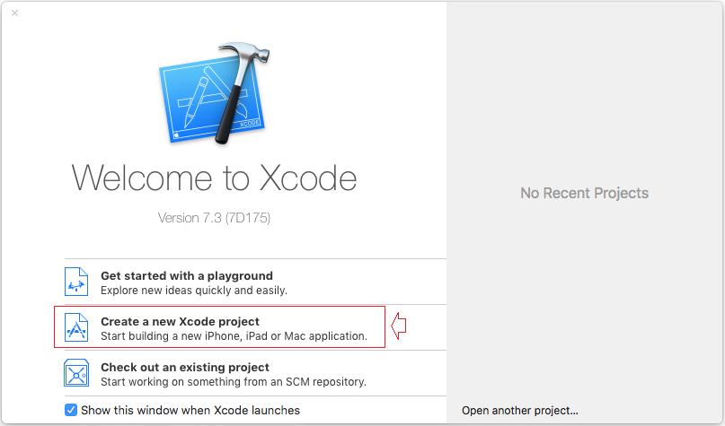 Chọn Create a new Xcode Project để bắt đầu